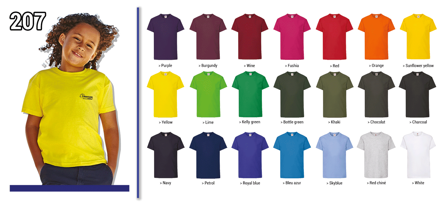 Tee-shirt enfant 160 grs Fruit Of the Loom, coupe unisexe