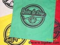 Un exemple de marquage de sacs shopping coton en sérigraphie 1 couleur
