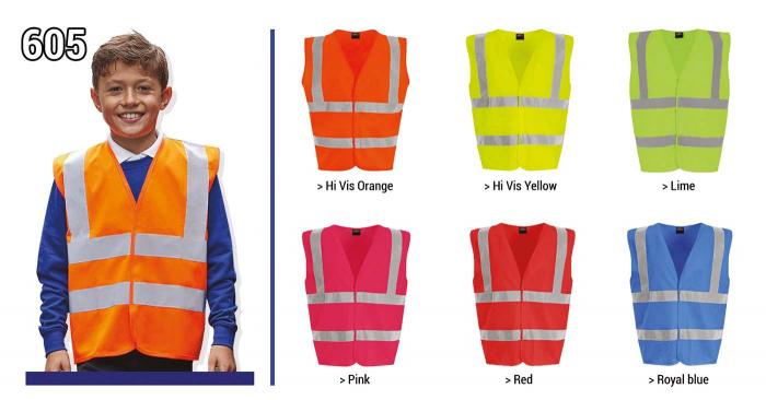 Gilets de sécurité gamme pour les  enfants disponible en taille 4/6 ans , 7/9 ans, 10/12 ans