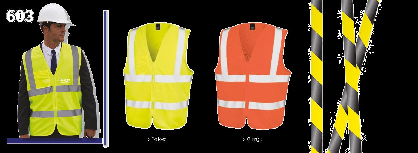 Gilets de sécurité fluo , norme CE EN/471, 100% polyester avec fermeture zippée + pochette plastique porte-badge. bandes réfléchissantes 3M  3 tailles :  S/M,    L/XL,    XXL/ XXXL