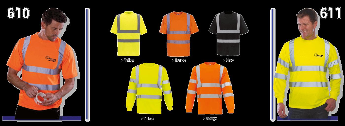 T-shirt avec bandes réfléchissantes 3M verticales et horizontales devant et dos, 100 % polyester , Hi-Vis Yellow = EN 471 classe 2