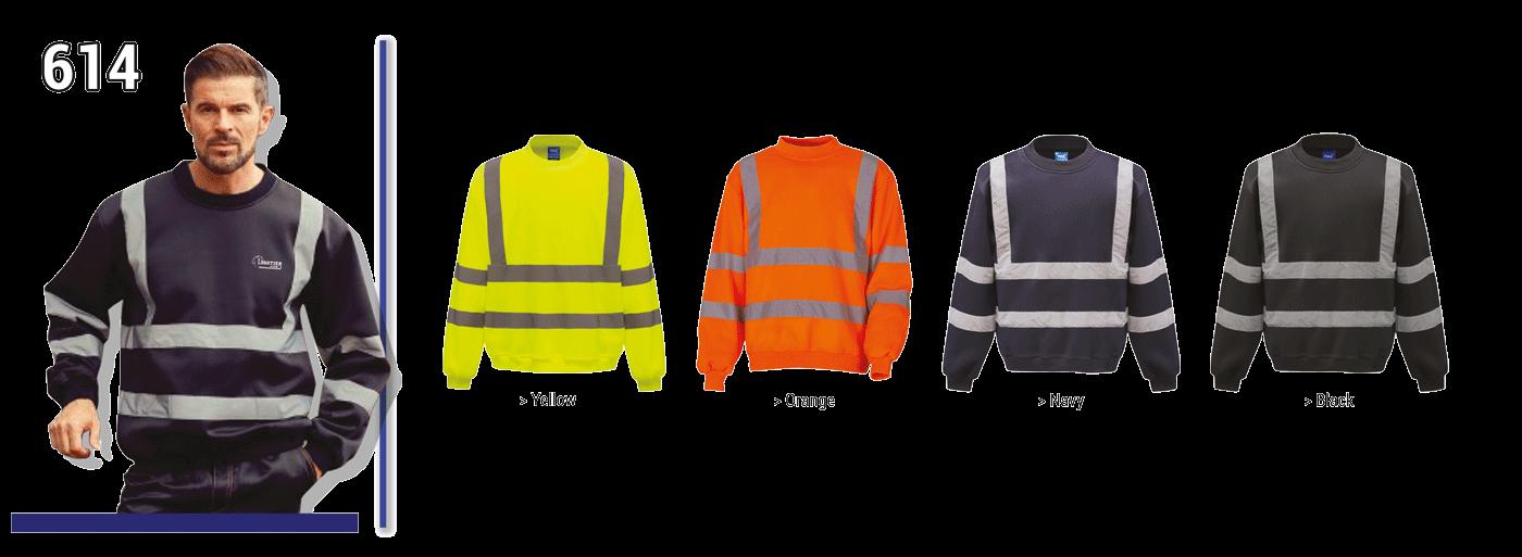 Sweat-shirt de sécurité avec bandes réfléchissantes verticales et horizontales devant et dos, 100 % polyester, EN 471 classe 3.