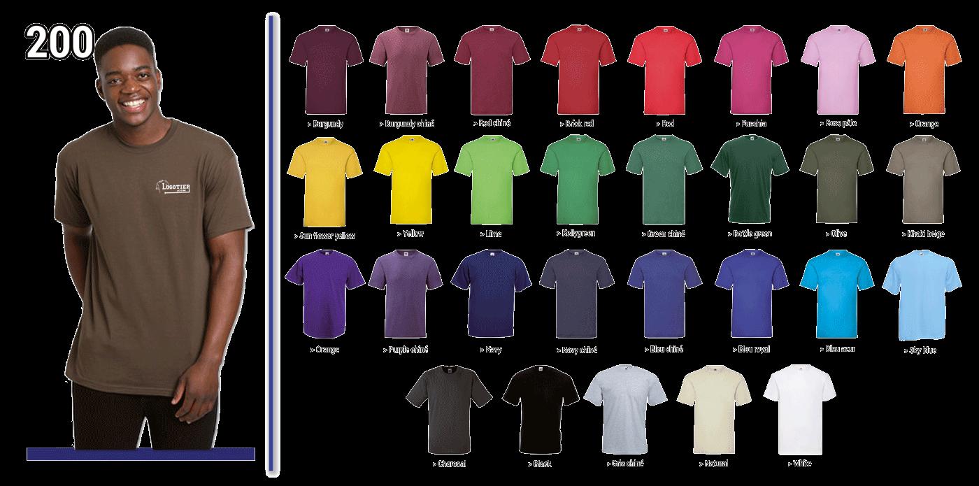 T-shirts  Fruit of the Loom coupe hommes 165 grs, 100% coton, bande de propreté,piqûre double au bord des manches à l'encolure et à la base.  Marquage du logo en sérigraphie .Tailles S-M-L-XL -XXL. Panachage des  tailles et couleurs.