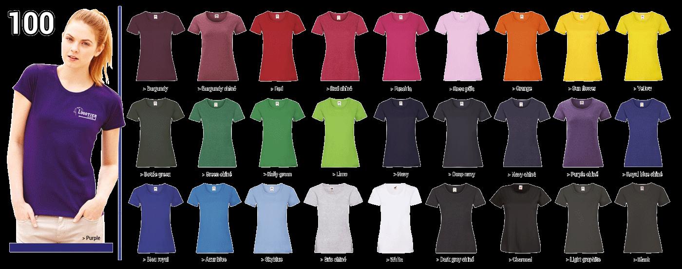 T-shirts coupe-femmes,  Fruit of the Loom ,165 grs, 100% coton, bande de propreté,piqûre double au bord des manches à l'encolure et à la base.  Marquage du logo en sérigraphie .Tailles S-M-L-XL -XXL. Panachage des  tailles et couleurs.