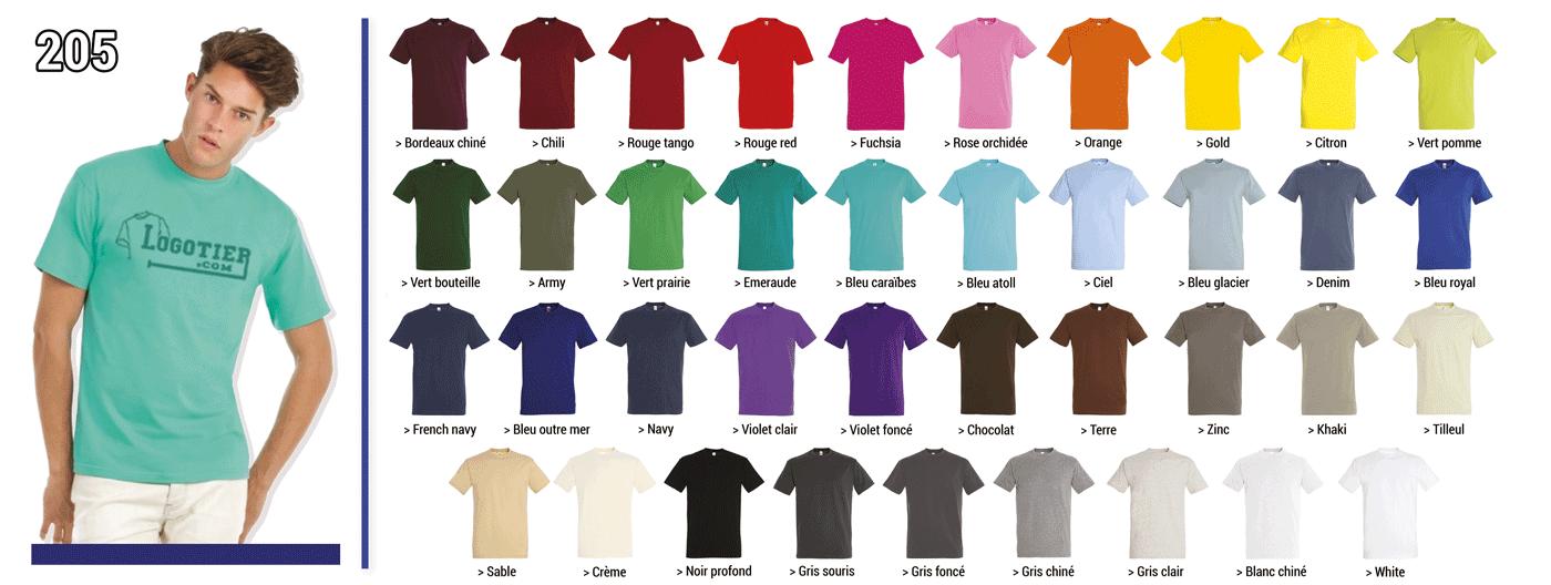 Tee-shirt 190 grs modèle Impérial de la marque Sol's , jersey 100 % coton semi-peigné ringspun. Col avec bord-cote elasthanne .