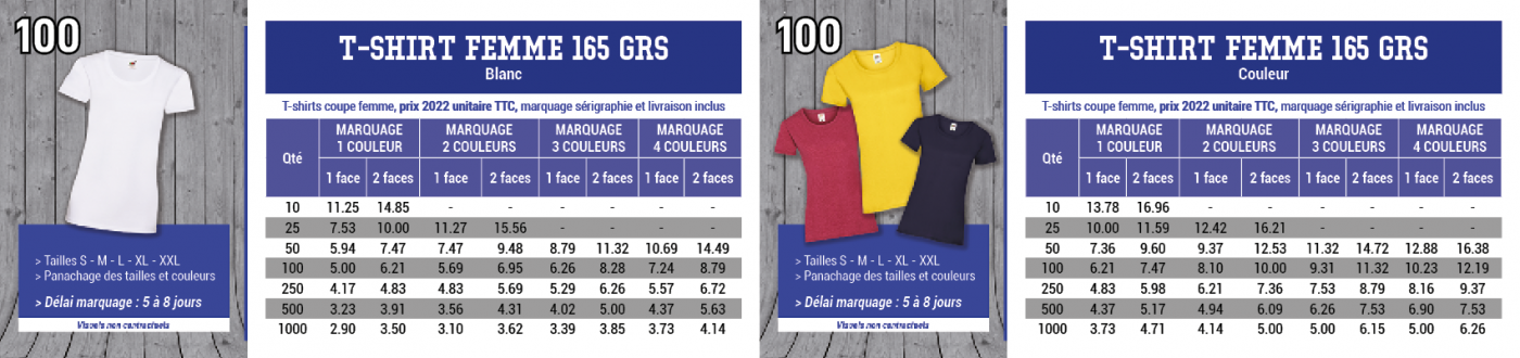 Tarif du tee-shirt,coupe-femme, 165 grs Fruit of the loom   avec impression en sérigraphie