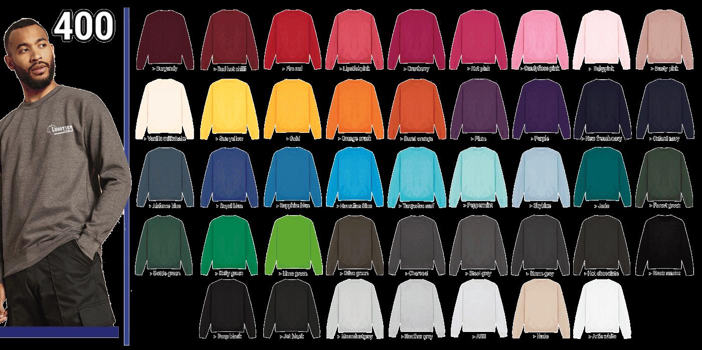50-Sweat-shirt 80% Coton ringspun, 20% Polyester. col rond  280 grs  ,manches montées,bande de propreté,coupe élégante,tissu en coton doux, détails à surpiqûres doubles. Le col,le bord des manche s et les  bords à l' intérieur sont côtelés. Production certifiée WRAP (Worldwide Responsible Accredited Production) Disponible en 37 coloris.