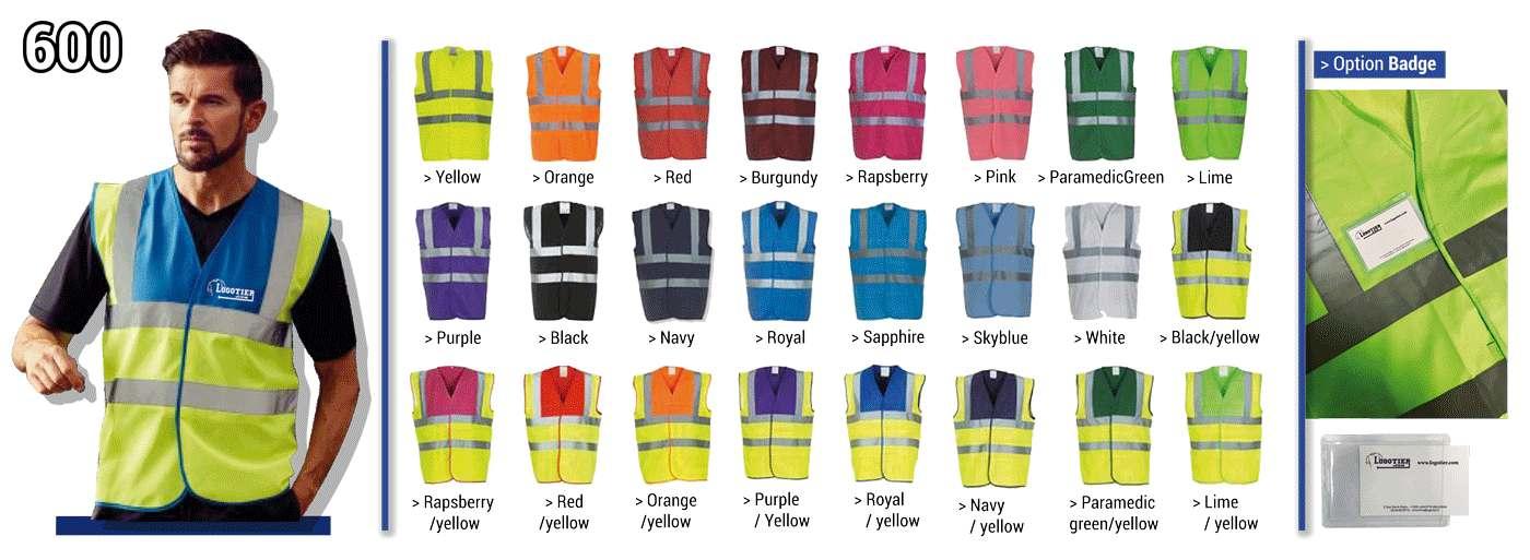 Gilets de sécurité fluo , norme CE EN/471 pour les couleurs jaune et orange fluo 100% polyester avec fermeture velcro. bandes réfléchissantes 3M Taille: S, M, L, XL, XXL, XXXL - enfants  4/6 ans,  7/9 ans et 10/12 ans pour les jaunes et oranges