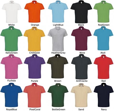 20 couleurs pour ce polo piqué-100% coton -disponible en 8 tailles : XS-S-M-L-XL-XXL-XXXL-XXXXL