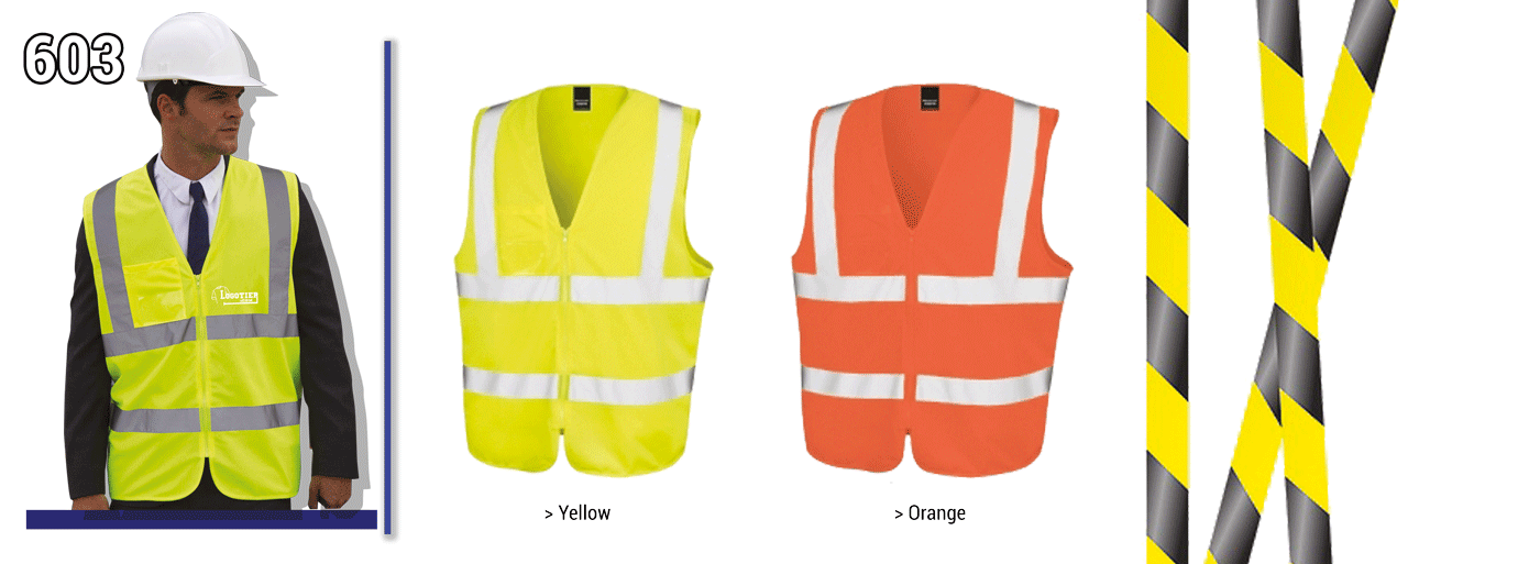 Gilets de sécurité fluo , norme CE EN/471, 100% polyester avec fermeture zippé + pochette plastique porte-badge. bandes réfléchissantes 3M  3 tailles :  S/M,    L/XL,    XXL/ XXXL Livraison avec marquage sous 5 à 8 jours .