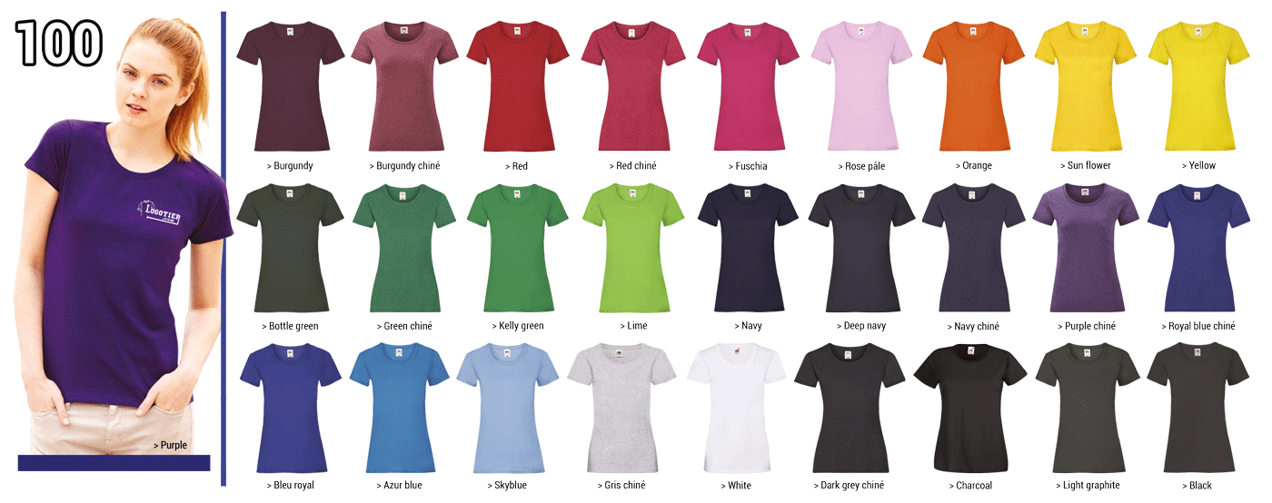 T-shirts  Fruit of the Loom coupe femmes 165 grs, 100% coton, bande de propreté,piqûre double au bord des manches à l'encolure et à la base.  Marquage du logo en sérigraphie .Tailles S-M-L-XL -XXL. Panachage des  tailles et couleurs.