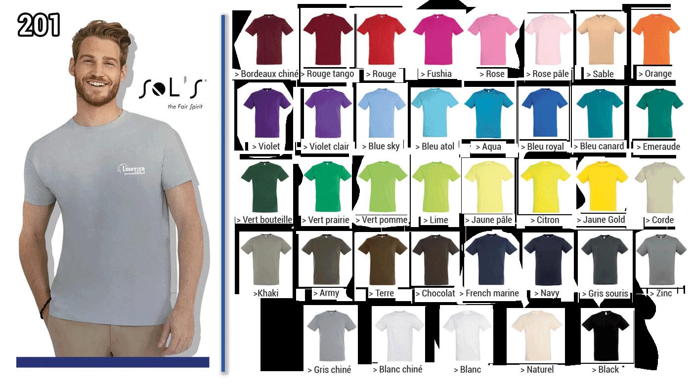 Tee-shirt 150 grs modèle Régent de la marque Sol's  , jersey 100 % coton semi-peigné ringspun. Col avec bord-cote elasthanne .