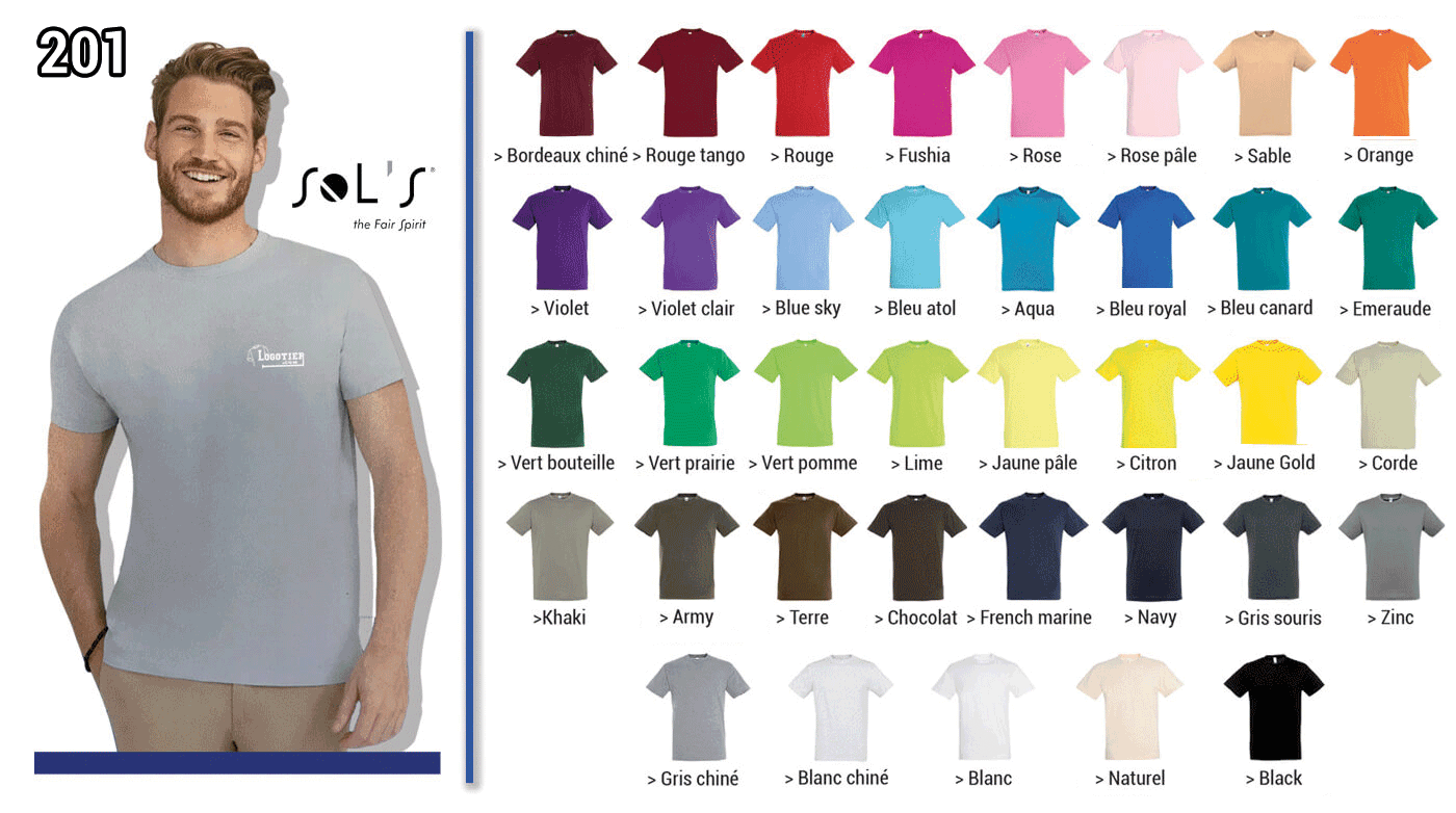 Tee-shirt 150 grs , jersey 100 % coton semi-peigné ringspun. Col avec bord-cote elasthanne .