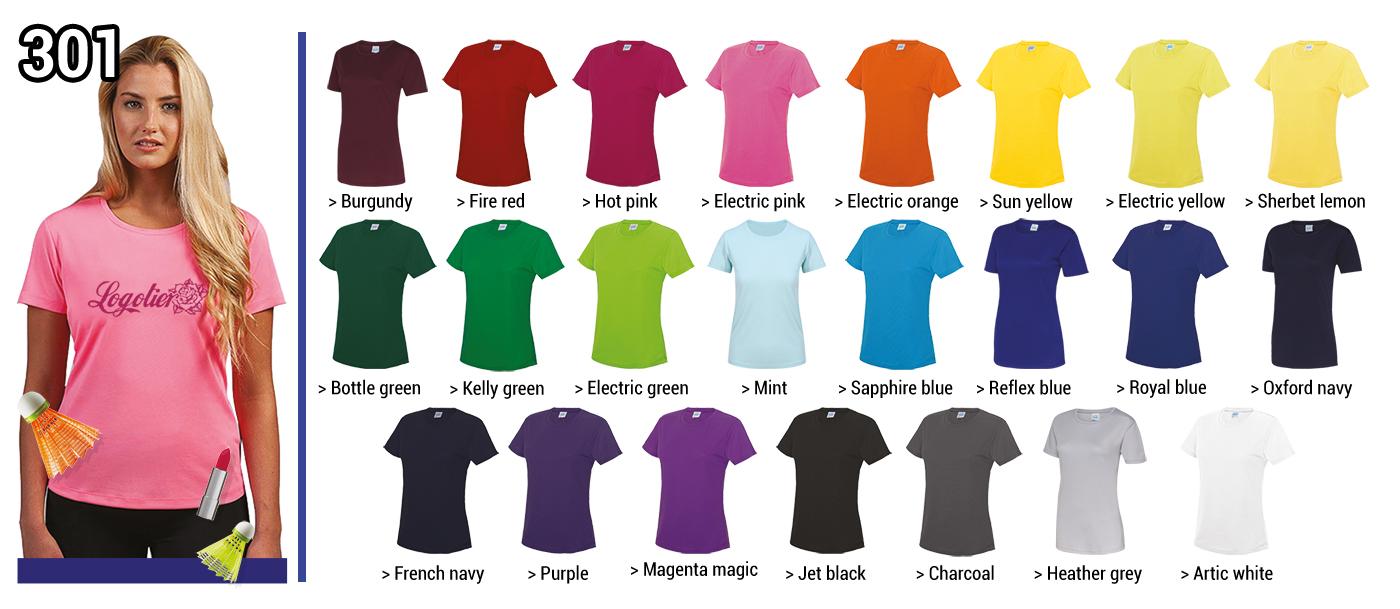 TSHIRT TECHNIQUE FEMME 140 GRS // Modèle 2  Grammage : 140 grs - Composition : 100% polyester Tailles : XS - S - M - L - XL - 2XL