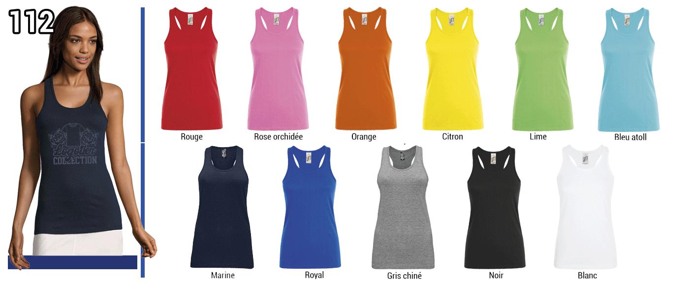 DEBARDEUR FEMME  150 GRS // Modèle 2  Grammage : 150 grs - Composition : 100% jersey semi-peigné Ringspun - Justin Sol's Dos nageur Tailles : XS - S  - M - L - XL - XXL