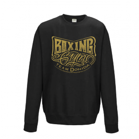 Sweat noir, col rond  Marquage Or