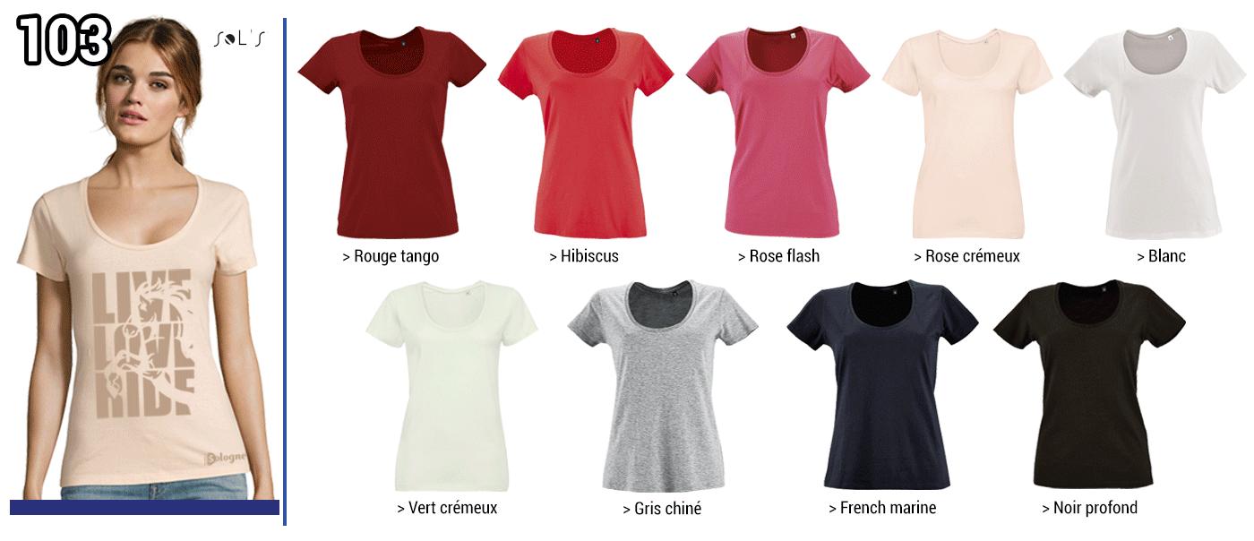 TSHIRT FEMME 150 GRS  // Modèle 4  Grammage : 150 grs - Composition :  100 % coton ringspun - Metropolitan / Sol's,   T-shirt femme encolure decolletée Tailles :  S - M -  L - XL -  2XL