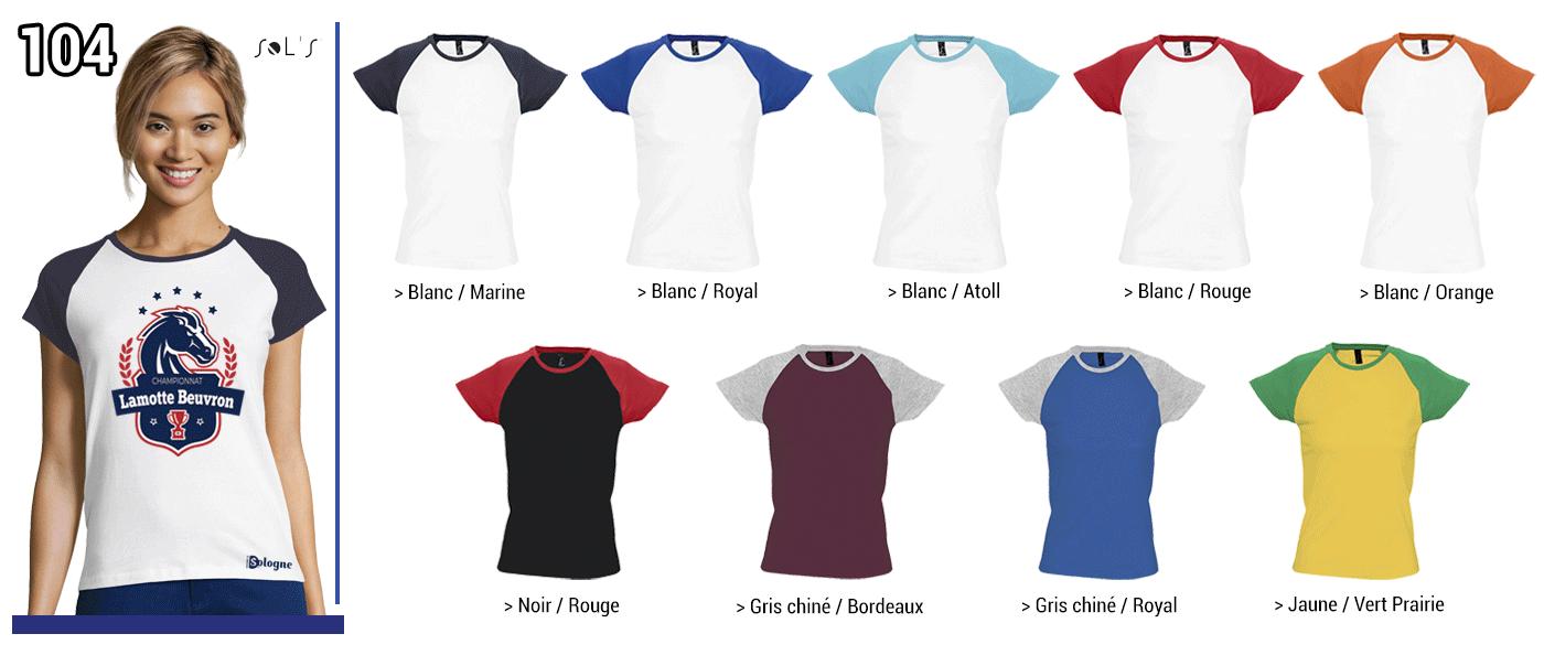 TSHIRT FEMME 150 GRS // Modèle 5  Grammage : 150 grs - Composition : 100 % coton - Milky Sol's  Tshirt bicolore Tailles :  S - M -  L - XL -  2XL