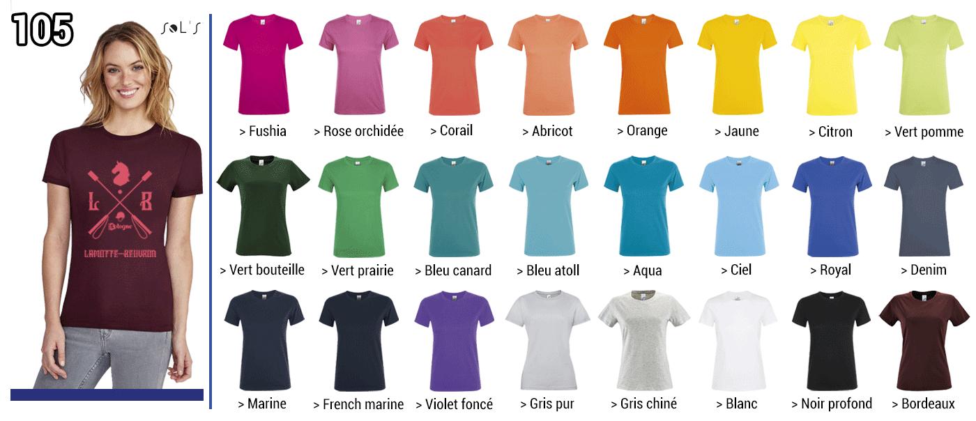 TSHIRT FEMME 150 GRS // Modèle 6  Grammage : 150 grs - Composition : 100 % coton  -  Regent Sol's Tailles :  S - M -  L - XL -  2XL - 3XL